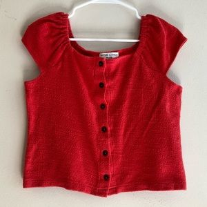 Madewell Texture & Thread Button-Front Top in Red